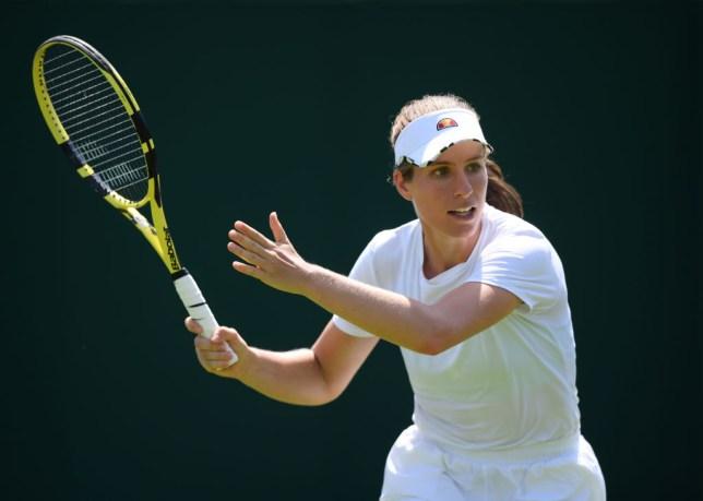 Johanna Konta hits a forehand at Wimbledon