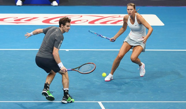 Andy Murray playing mixed doubles with Maria Sharapova