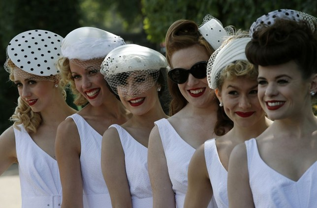 Women posing for a photo at Ascot