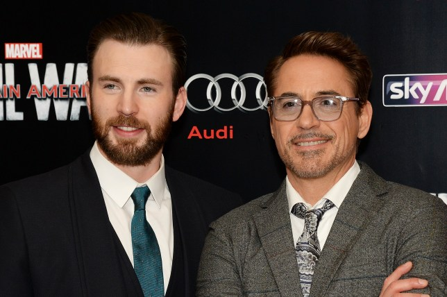 Chris Evans and Robert Downey Jr at Captain America Civil War