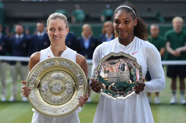 Angelique Kerber and Serena Williams stand with their trophies after the 2018 Wimbledon final