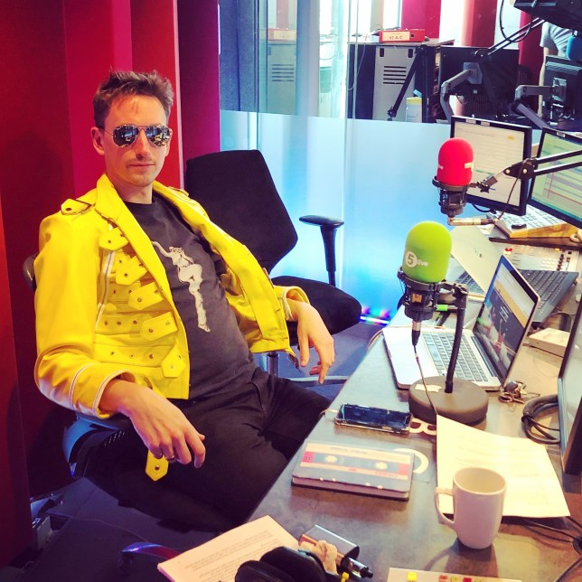 John Robins hosting his BBC 5Live Radio show with Elis James