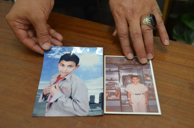Khaled showing pictures of Ahmed