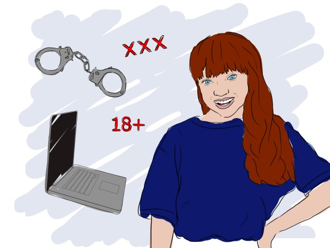 Illustration of a woman, a laptop, handcuffs and wording that says 'xxx' and '18+'