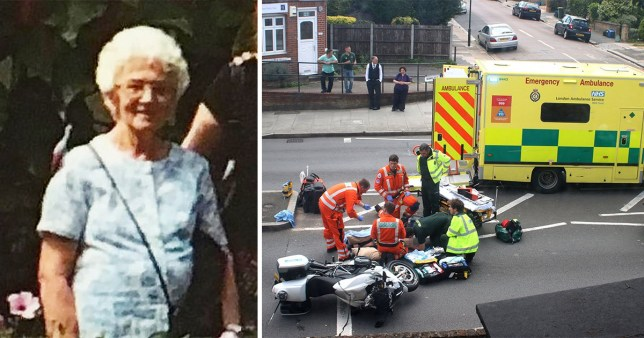 Irene Mayor, 83, was injured when one of the royal family's armed motorbike police escorts crashed into her