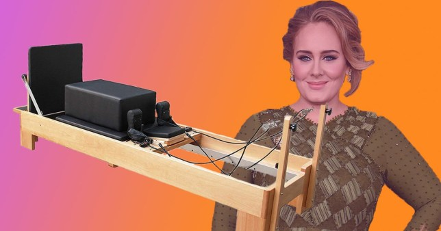 Comp of Adele with a Reformer Pilates machine