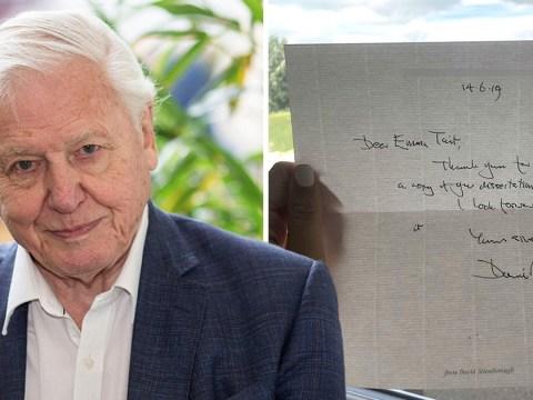 David Attenborough sends student handwritten letter after she sent him her dissertation