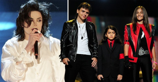 Michael Jackson's children, Prince Jackson (L), Blanket Jackson (C) and Paris Jackson (R) speak on stage during the \'Michael Forever\' concert