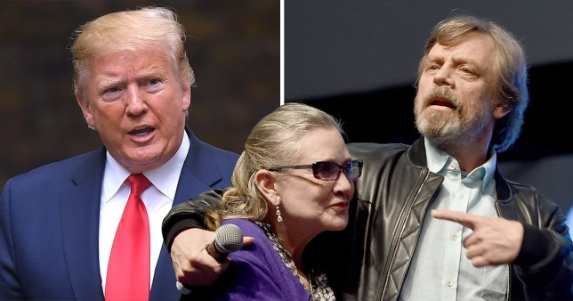 President Donald Trump and Star Wars' Carrie Fisher and Mark Hamill