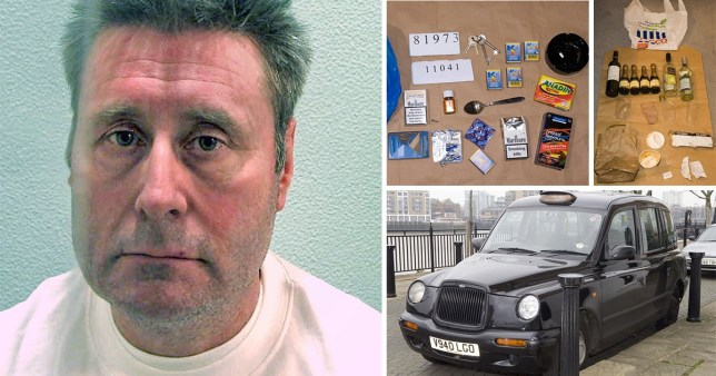 Comp of images of black cab rapist John Worboys, the drugs, condoms and wine bottles seized after his arrest and a picture of a black cab.