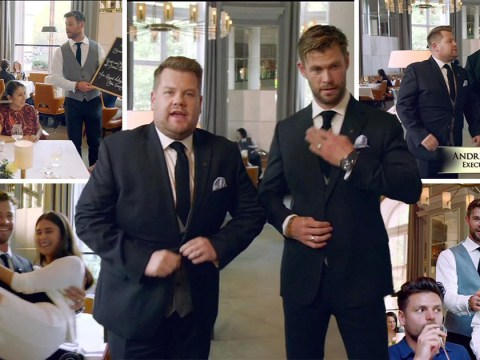 Avengers' Chris Hemsworth and James Corden battle it out as waiters and things get seriously petty
