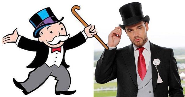 Liam Payne mocks his Ascot outfit as he compares it to Monopoly man