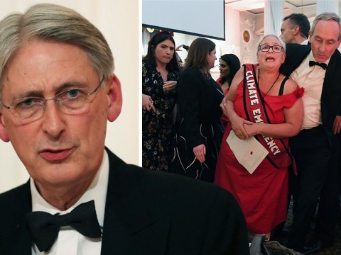 Greenpeace protesters storm Philip Hammond's speech shouting 'this is an emergency'