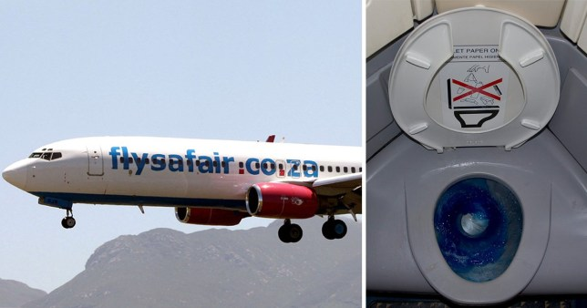 Picture of a Fly Safair airline (left) next to a picture of an airline toilet.