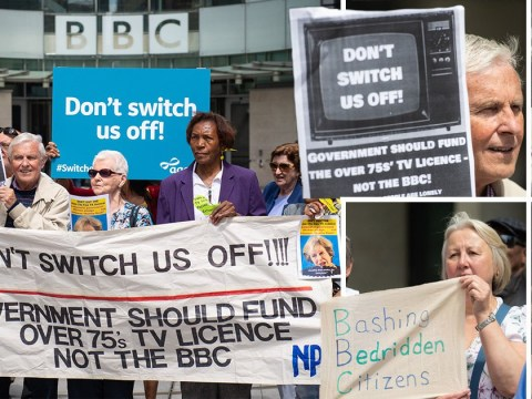Pensioners protest outside BBC HQ over scrapping of free TV licences