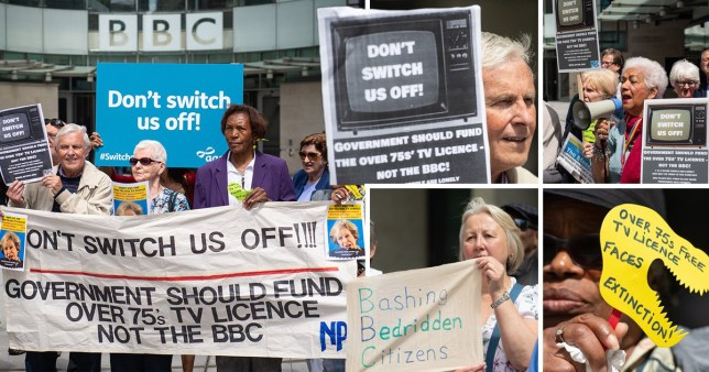 Comp of pictures of elderly people protesting outside the BBC's headquarters in opposition to the decision to scrap free TV licences for over 75s.