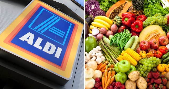 Compilation of an Aldi sign on one side and loose vegetables on the other