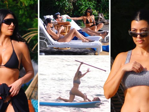Kourtney Kardashian falls off paddle board as she holidays with Kim and Scott Disick in Costa Rica