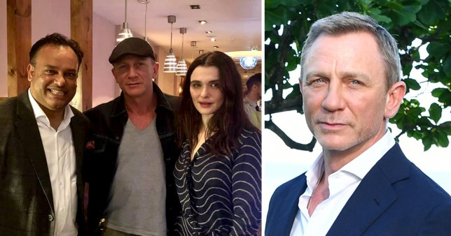 Daniel Craig and Rachel Weisz with Namaste Kitchen restaurant owner