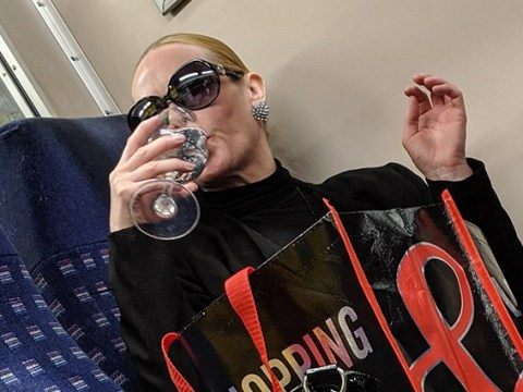 Woman drinking pink gin from a wine glass on the Tube is back at it again
