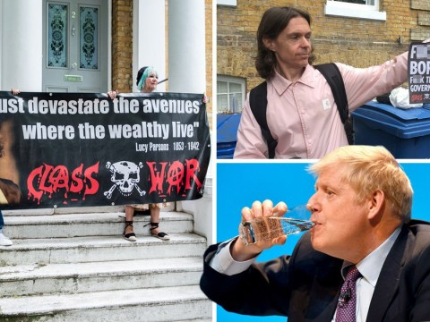 Class war anarchists protest outside Boris Johnson's girlfriend's flat after row