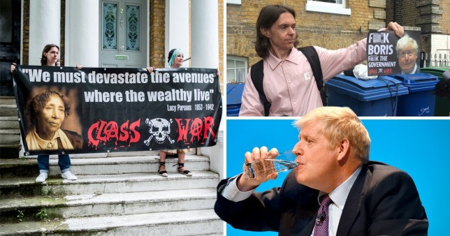 The Class War group said it would be happy if Boris Johnson 'left the planet'