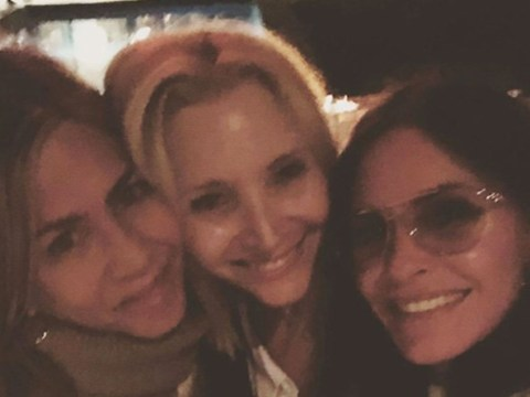 Friends Courteney Cox, Jennifer Aniston and Lisa Kudrow are loving selfies on girls' night out