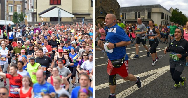 A runner died ahead of the finish line of the Swansea half marathon