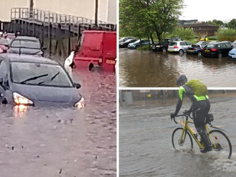 Drivers abandon cars as flash floods turn roads into rivers