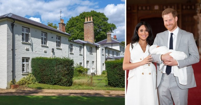 Forgmore Cottage and Meghan Markle and Prince Harry holding their baby Archie