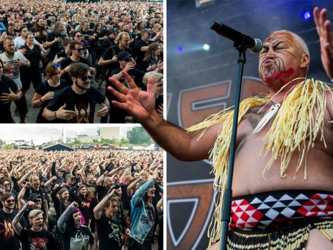 Powerful moment Danish heavy metal fans perform Haka for New Zealand band