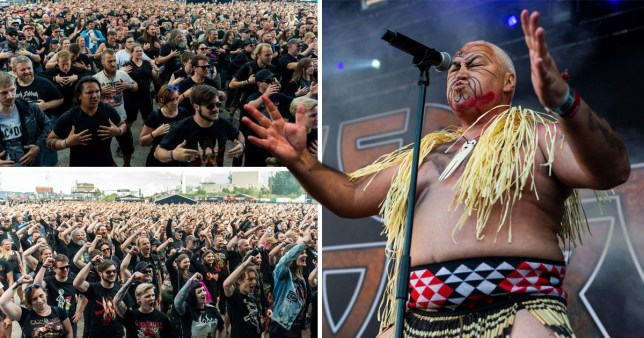 Danish metal fans perform the Haka at Copenhell