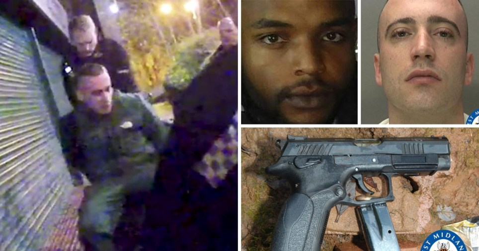 Compilation of images including Jordan Bassett, 25, of Willenhall, Walsall, a 9mm Luger pistol seized by police, Jordan Basset's mugshot and a picture of best friend Addison Packeer, 27, who was shot dead when Jordan was 'messing around' with the gun.