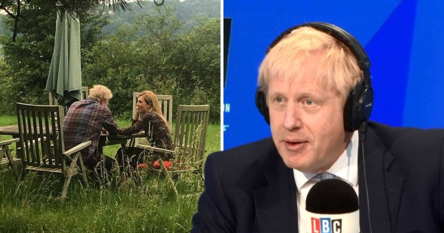Boris Johnson refused to answer questions about the photograph with girlfriend Carrie Symonds