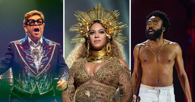 Elton John, Beyonce and Childish Gambino performing on-stage