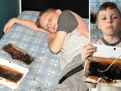 Samsung tablet 'burns through bed in night' inches away from face of boy, 11