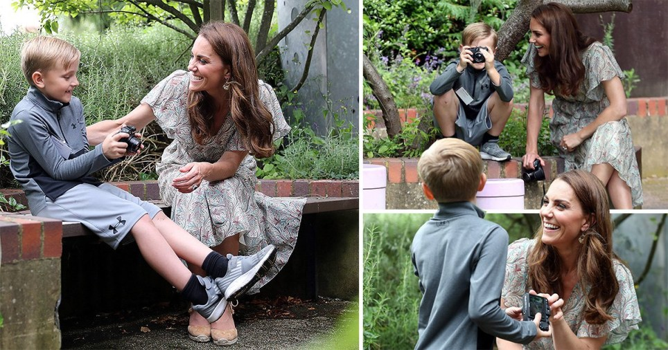 Kate in her element as she passes on photography tips to children