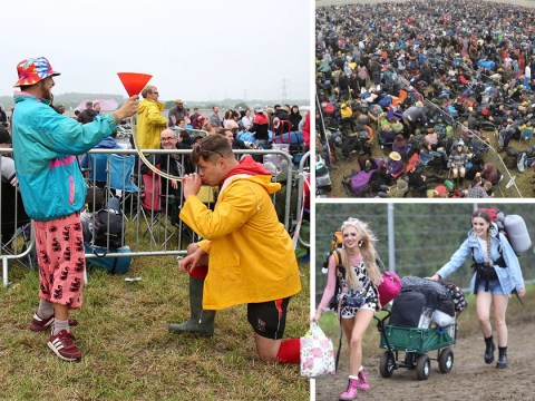 Glastonbury revellers descend on Worthy Farm as heatwave replaces the usual washout