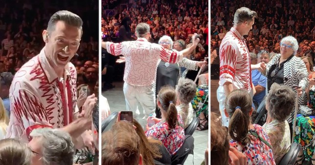 Hugh Jackman dances with an elderly woman on The Man. The Music. The Show tour show in Toronto