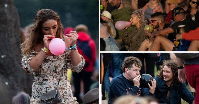 Festival goers inhaling from balloons at Glastonbury