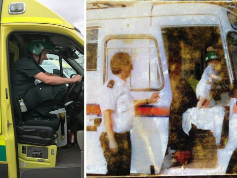 Father and son paramedics recreate family photo 30 years later