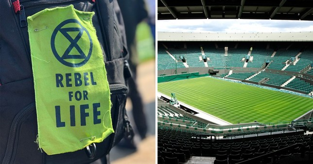 An Extinction Rebellion trouser patch (left) next to a picture of Wimbledon tennis ground