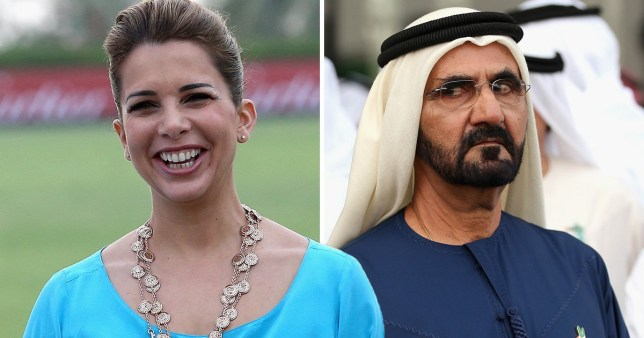 Picture of Princess Haya, of Jordan, next to picture of Sheik Mohammed bin Rashid al-Maktoum of Dubai and the UAE