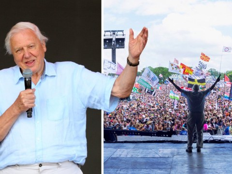 Sir David Attenborough celebrates Glastonbury Festival for going plastic free during surprise stage appearance