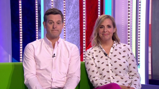 Matt Baker and Mel Giedroyc sitting together hosting The One Show