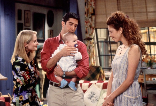 "FRIENDS -- ""The One With the Breast Milk"" Episode 2 -- Pictured: (l-r) Jennifer Aniston as Rachel Green, Jane Sibbett as Carol Willick, David Schwimmer as Ross Geller, unknown as Ben Geller-Willick, Jessica Hecht as Susan Bunch (Photo by Gary Null/NBC/NBCU Photo Bank via Getty Images)"
