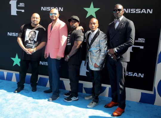Mandatory Credit: Photo by Chelsea Lauren/REX (10317961jy) Raymond Santana Jr., Kevin Richardson, Antron McCray, Korey Wise and Yusef Salaam the 'Central Park Five' BET Awards, Arrivals, Microsoft Theater, Los Angeles, USA - 23 Jun 2019