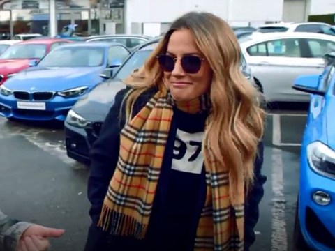 Caroline Flack cheekily shrugs when grilled on Harry Styles romance