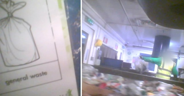 Picture of a general waste sign next to undercover footage shot at the Cory-run waste management plant in Wandsworth, south west London