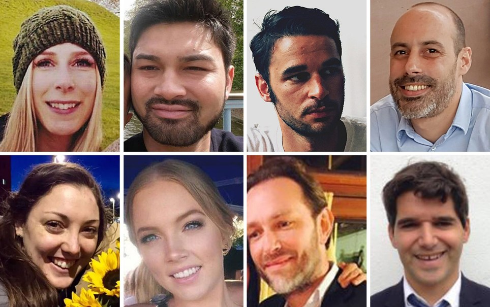Undated family handout file photos issued by Metropolitan Police of the victims of the London Bridge terrorist attack (top row left to right) Christine Archibald, James McMullan, Alexandre Pigeard, Sebastien Belanger, (bottom row left to right) Kirsty Boden, Sara Zelenak, Xavier Thomas and Ignacio Echeverria. The inquest into the victims of the London Bridge and Borough Market attack will conclude on Friday. PRESS ASSOCIATION Photo. Issue date: Friday June 28, 2019. See PA story INQUEST LondonBridge. Photo credit should read: Metropolitan Police/PA Wire NOTE TO EDITORS: This handout photo may only be used in for editorial reporting purposes for the contemporaneous illustration of events, things or the people in the image or facts mentioned in the caption. Reuse of the picture may require further permission from the copyright holder.
